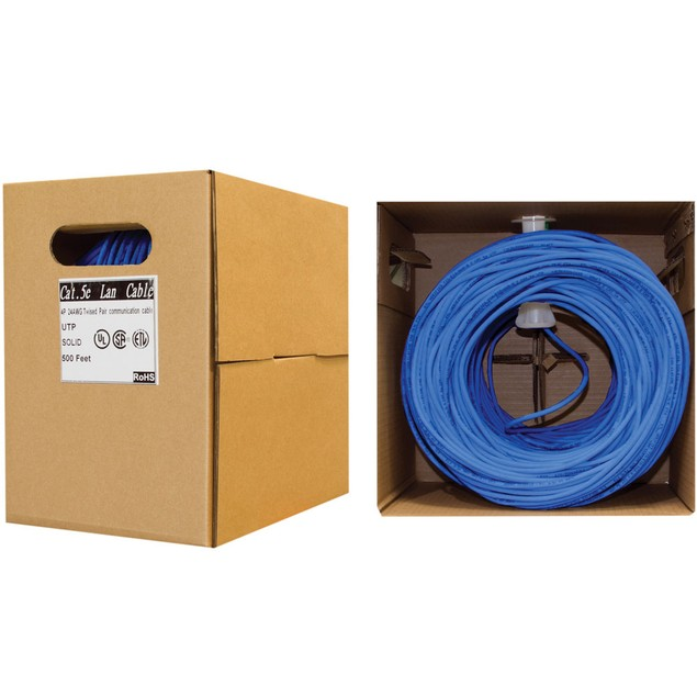 Bulk Cat5e Blue Ethernet Cable,  Pullbox, 500 foot
