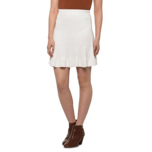 Free People Women's Solid Gold Ribbed Knit Boho Skirt White Size Small