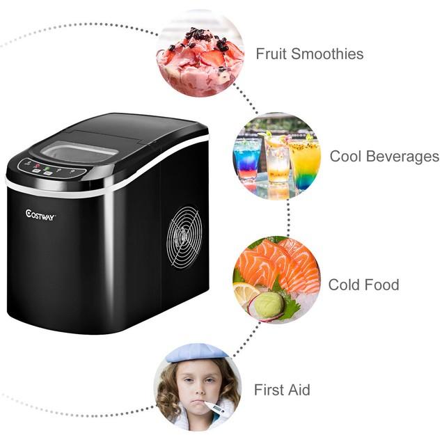 Costway Black Portable Compact Electric Ice Maker Machine Mini Cube 26lb/Da