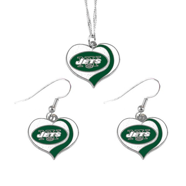 New York Jets NFL Glitter Heart Necklace and Earring Set Charm Gift