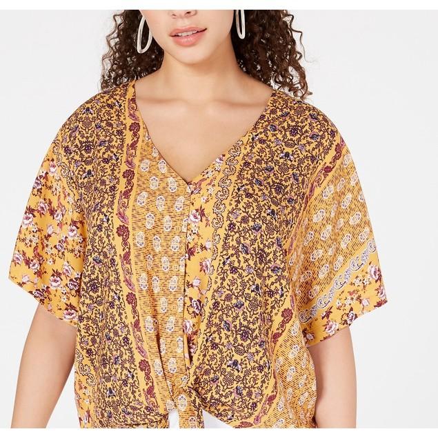 Hippie Rose Juniors' Women's Printed Tie-Waist Blouse Yellow Size Medium