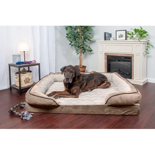 FurHaven Perfect Comfort Velvet Waves Convolute Orthopedic Sofa Pet Bed