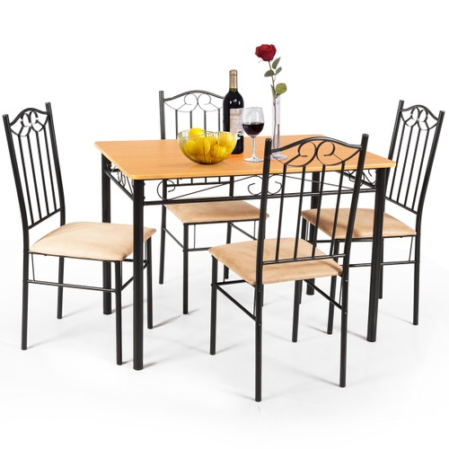 "Costway 5 PC Dining Set Wood Metal 30"" Table and 4 Chairs Black Kitchen Bre"