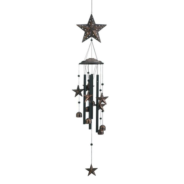 "34"" Bronze Stars Decorative Wind Chimes - Pine Wood, Aluminum and Iron"