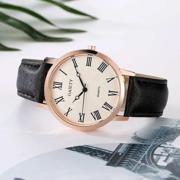 Women Leather Band Analog Quartz Round Wrist Watch Watches D3