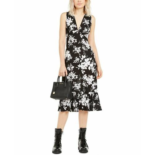 Michael Kors Floral-Print Dress Black Size Extra Large