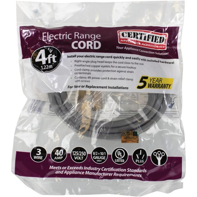Certified Appliance Accessories 4 Ft 10/3 3-Wire Closed Eyelet 40-Amp Range