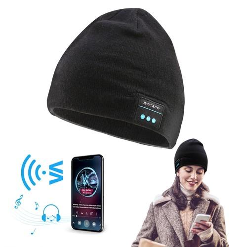 Wireless Bluetooth Beanie Hat with Built-in Headphones Unisex Warm Knit Winter Cap w/ Mic Ski Running