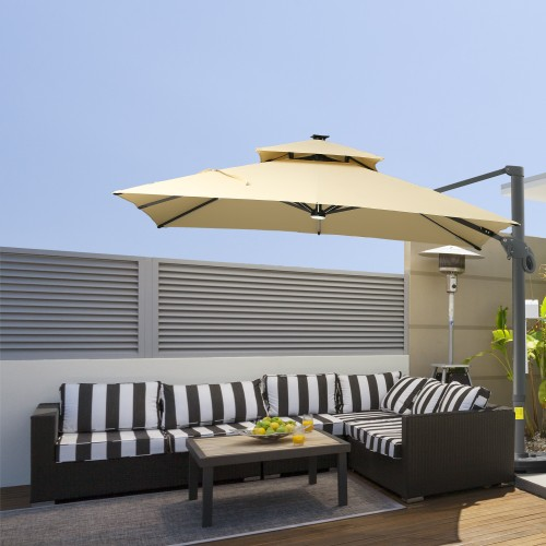 10 FT Aluminum Sun Square Canopy Top with Adjustable Pole Angle Beige