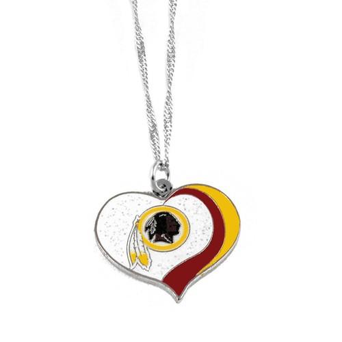 Washington Redskins NFL Glitter Heart Necklace Charm Gift