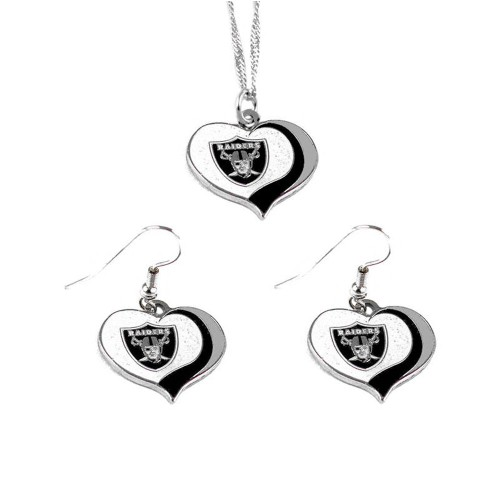 Oakland Raiders NFL Glitter Heart Necklace and Earring Set Charm Gift