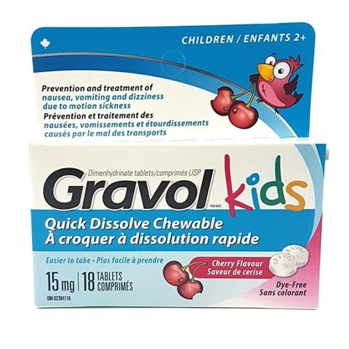 GRAVOL Children's 18 Quick Dissolve CHERRY Chewable Tablets for Anti-Vomit