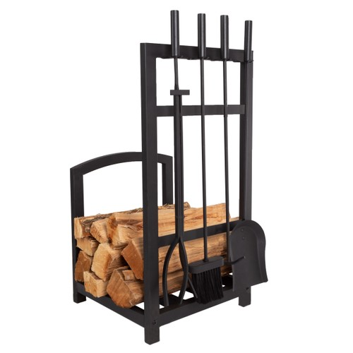 Metal Log Rack and Fireplace Tool Set Indoor Wrought Iron Home Decor