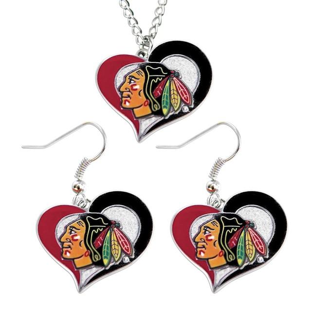 Chicago Blackhawks Swirl Heart Necklace and Earring Set NHL Charm Gift