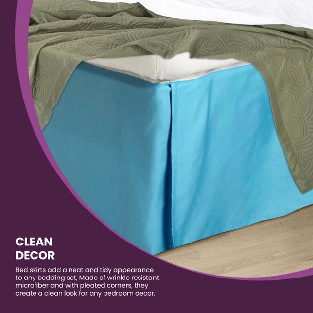 "2L Series Soft & Wrinkle Free Microfiber Bed Skirt, 15"" Drop"