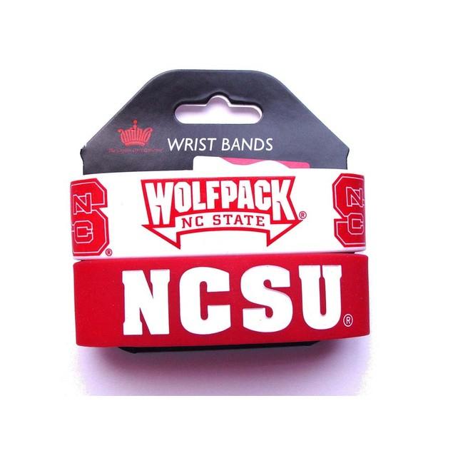 North Carolina State Wolfpack Rubber Wrist Band (Set of 2) NCAA