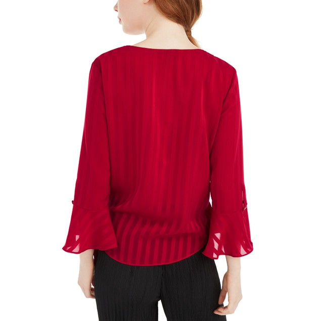 BCX Juniors' Women's Bell-Sleeve Wrap Top Red Size Small