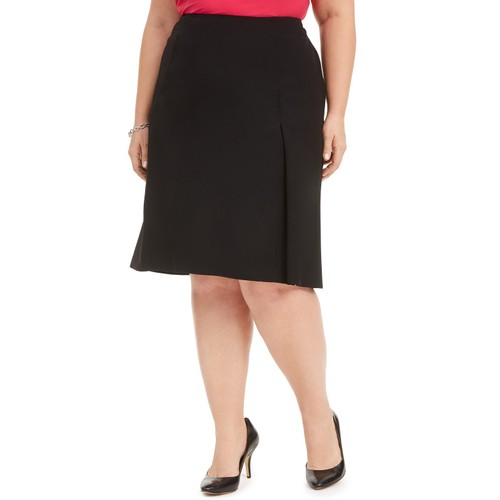 Kasper Women's Plus Size A-Line Skirt Black Size 24W