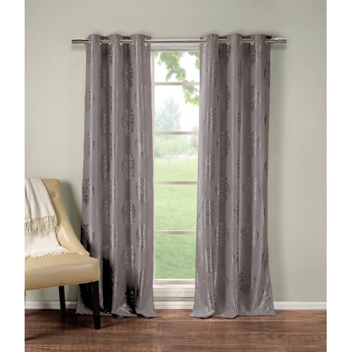 Heavy Medallion Print Insulated Blackout Grommet Window Curtain Set of 2