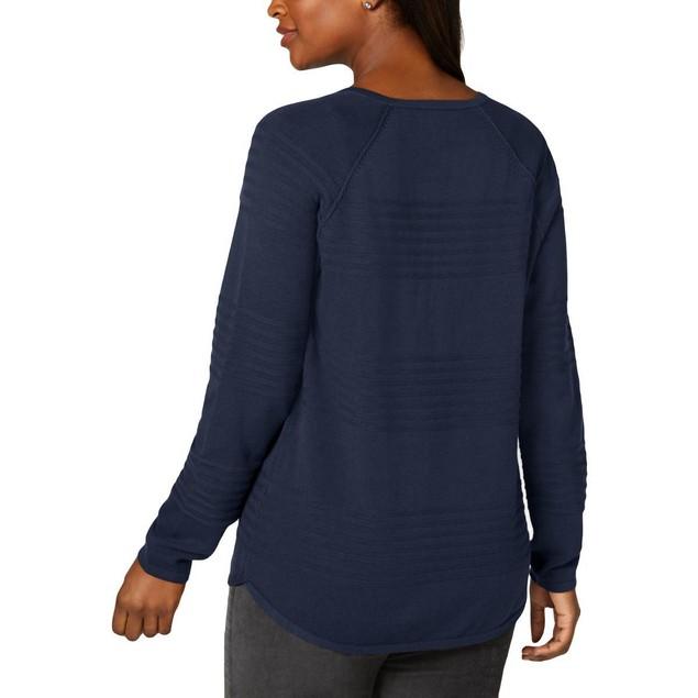 Karen Scott Women's Ribbed Cotton Pullover Sweater Blue Size Small