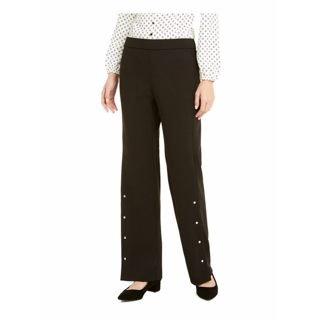 Alfani Women's Riveted Wide-Leg Pants Black Size Small