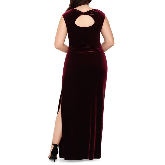 XSCAPE Women's Plus Size Drape-Front Velvet Gown Dark Red Size Petite Small