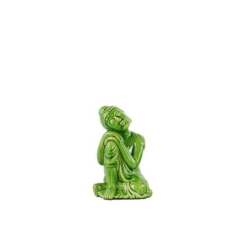 Urban Trends Ceramic Buddha with Rounded Ushnisha on Knee Figurine Green