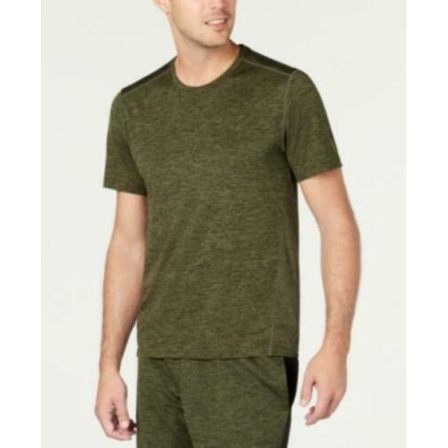 Ideology Men's Core Crew Neck Mesh-Back T-Shirt Green Size 2 Extra Large