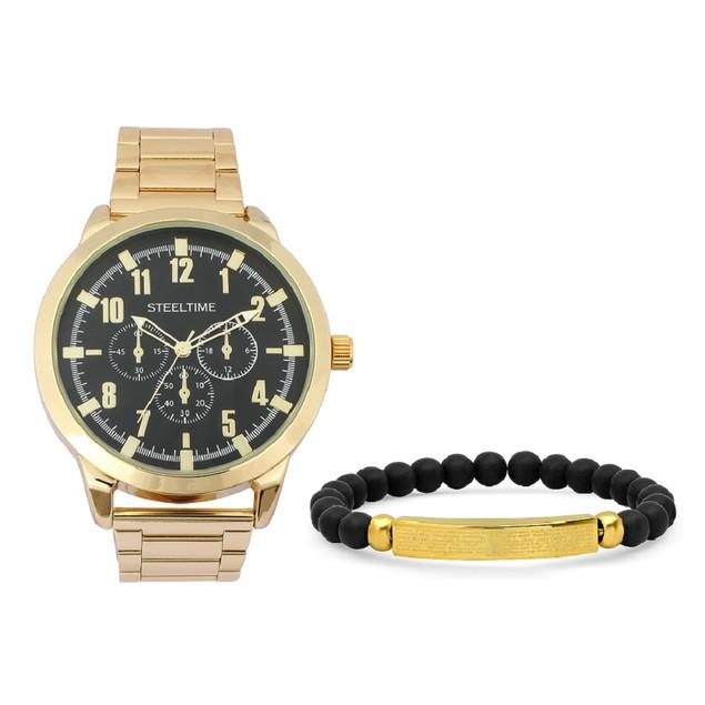 Gold Bracelet & Watch Set W/ Our Father Id Bracelet