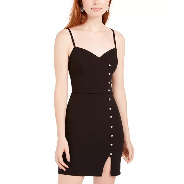 Trixxi Juniors' Crystal-Button Scuba Slip Dress Black Size 13