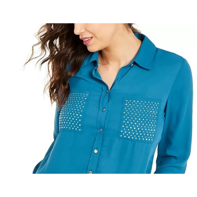 Thalia Sodi Women's Studded Shirt Turq/Aqua Size Medium