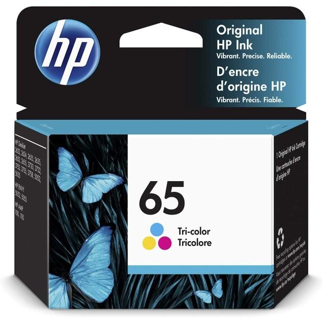 HP 65   Ink Cartridge   Works with HP Deskjet 2600 Series, 3700 Series, HP ENVY 5000 Series, HP AMP 100, 120, 125, 130   Tri-color   N9K01AN