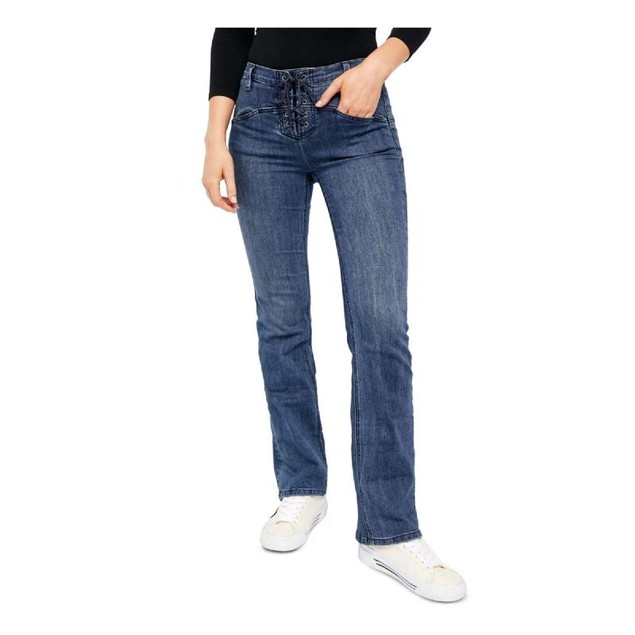 Free People Women's Eva Lace-Up Bootcut Jeans Blue Size 26
