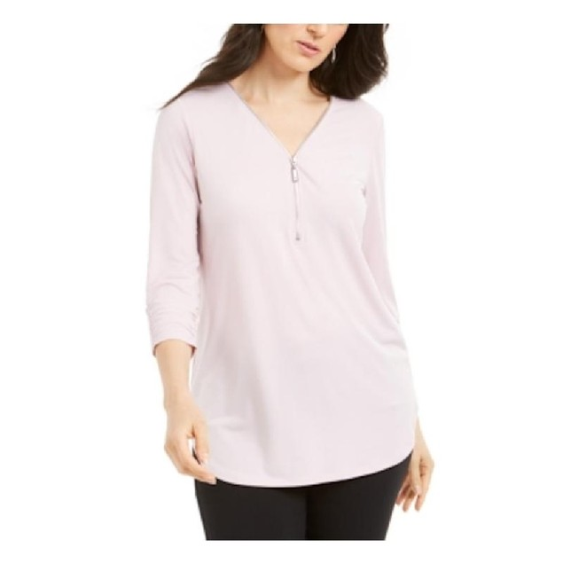 JM Collection Women's Zipper-Trim 3/4-Sleeve Top Pink Size Extra Large