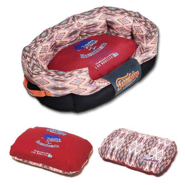 Touchdog 70's Vintage-Tribal Throwback Rectangular Rounded Dog Bed