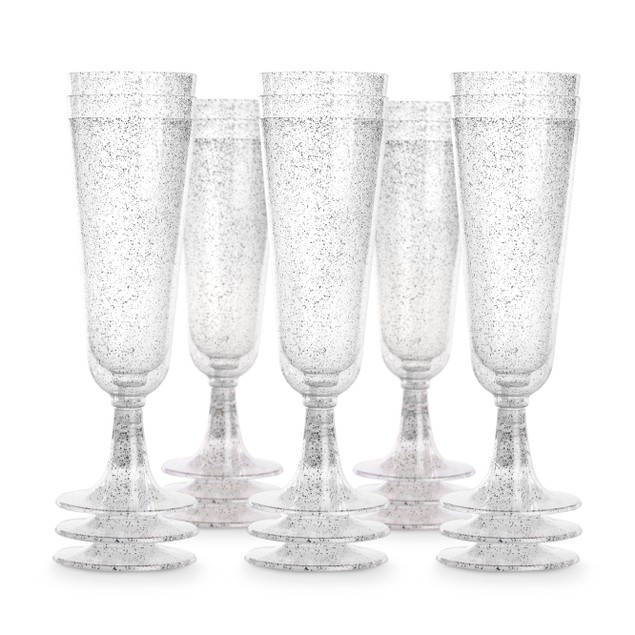 Plastic Champagne Flutes - Set of 50 | Pukkr Silver