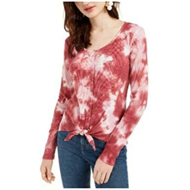 Ultra Flirt Juniors' Tie-Dye Thermal Top Red Size Medium