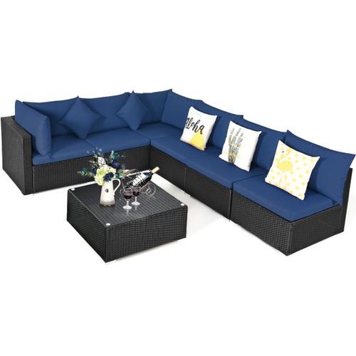 Costway 4 PCS Patio Rattan Wicker Furniture Sectional Seat Cushioned Sofa G