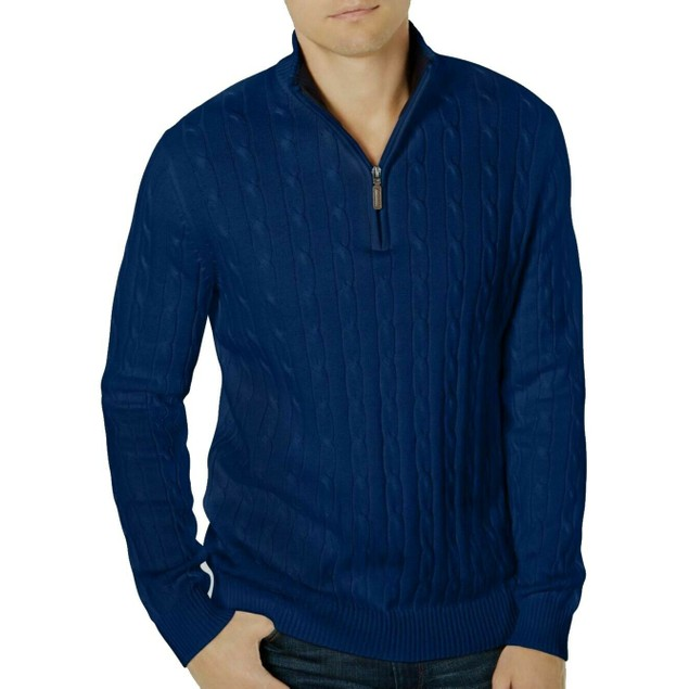 Club Room Men's Pima Cable Quarter-Zip Sweater Blue Size Small
