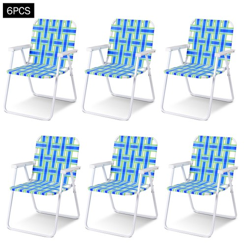 Costway 6pcs Folding Beach Chair Camping Lawn Webbing Chair Lightweight 1 P