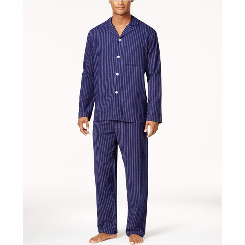 Club Room Men's Cotton Flannel Pajama Set Navy Size Small