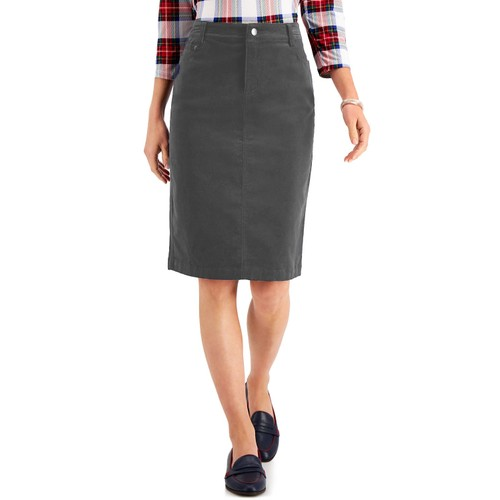 Charter Club Women's Corduroy Tummy-Control Skirt Gray Size 18