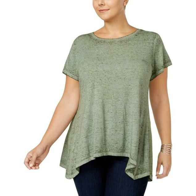 Style & Co Women's Handkerchief-Hem T-Shirt Med Green Size Large