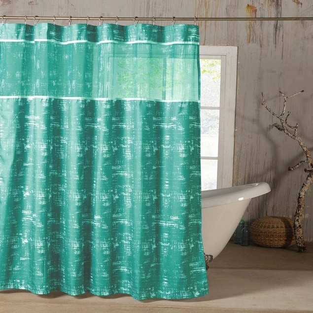 """Ella 72"""" Waterproof Fabric Shower Curtain with Rings"""