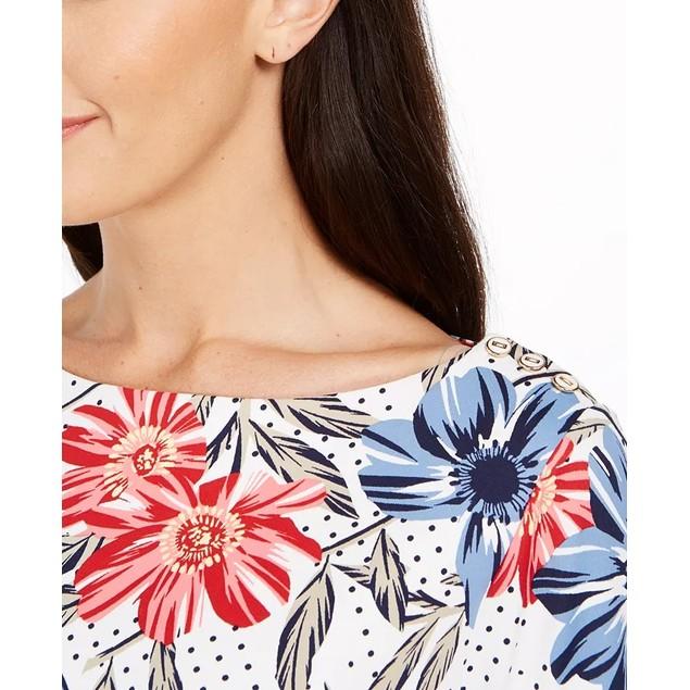 Charter Club Women's Polka Dot Floral Print Top  White Size Large