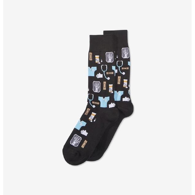 Hot Soz Men's M Cal Design Socks Black One Size