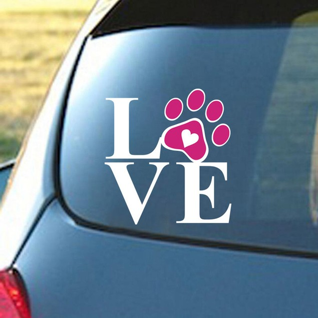 Heart With Dog Paw Puppy Love Decal Window Sticker For Cars