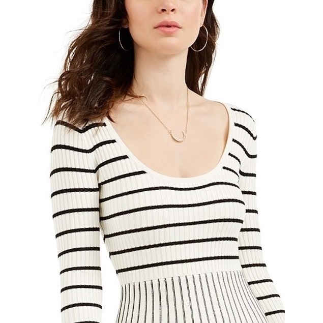 Guess Women's Nash Striped Fit & Flare Dress Brown Size X-Large