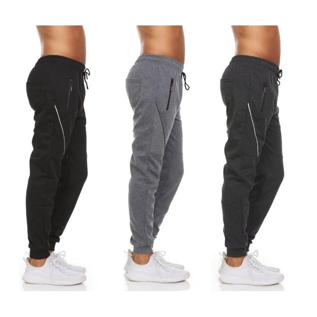 3-Pack Men's Moisture-Wicking Jogger Pants with Zipper Pockets