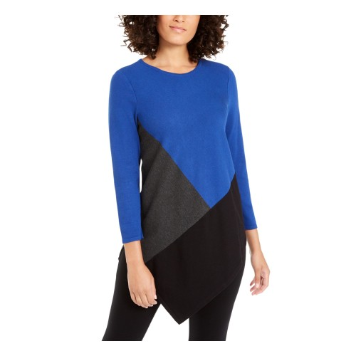 Alfani Women's Color Block Jewel Neck Hi-Lo Sweater Blue Size Small